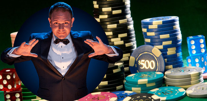 Magician with Casino Chips